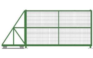 Ворота откатные из 3D сетки